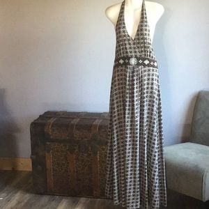 TOMMY HILFIGER HALTER MAXIE DRESS  BROWN/WHITE  XL